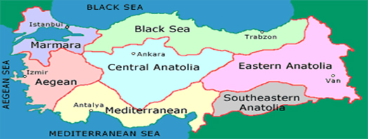 Turkey, bounded by four seas on three sides, spans a relatively large region in Asia and Europe.